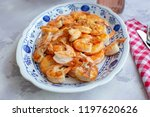 cooked shrimp or gambas with... | Shutterstock . vector #1197620626
