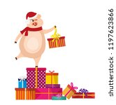 cute pig with gift. christmas...   Shutterstock .eps vector #1197623866