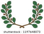 oak wreath vector illustration | Shutterstock .eps vector #1197648073