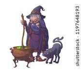 old witch in a cone hat with... | Shutterstock .eps vector #1197648193