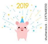 cartoon pig  symbol of 2019... | Shutterstock .eps vector #1197648550