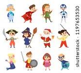 children in the halloween... | Shutterstock .eps vector #1197653530