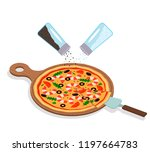 round italian hot pizza with... | Shutterstock .eps vector #1197664783