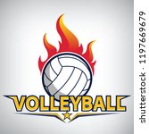 fire on volleyball championship ... | Shutterstock .eps vector #1197669679