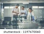 conversation about new plan.... | Shutterstock . vector #1197670060