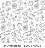 halloween line art elements... | Shutterstock .eps vector #1197676426