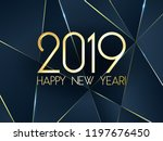 blue 2019 happy new year card...   Shutterstock .eps vector #1197676450