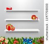 shelves with christmas gift box ... | Shutterstock .eps vector #1197703033