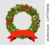 wreath with ribbon transparent... | Shutterstock .eps vector #1197703036