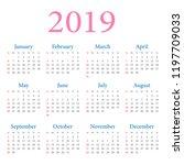 calendar 2019 year  week starts ...   Shutterstock .eps vector #1197709033