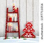 christmas theme  wooden ladder...   Shutterstock .eps vector #1197711016