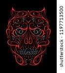 abstract skull shape red... | Shutterstock .eps vector #1197713500