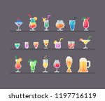 alcohol drinks and cocktails... | Shutterstock .eps vector #1197716119