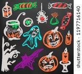 halloween. a set of funny... | Shutterstock .eps vector #1197716140