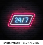 neon sign   24 7 open   with a... | Shutterstock .eps vector #1197719209