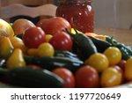 fresh garden tomatoes and...   Shutterstock . vector #1197720649