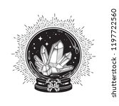 hand drawn magic crystal ball... | Shutterstock .eps vector #1197722560
