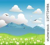 vector summer landscape with... | Shutterstock .eps vector #1197724486