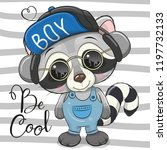 cool cartoon cute raccoon with... | Shutterstock .eps vector #1197732133