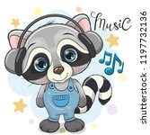 cute cartoon raccoon with... | Shutterstock .eps vector #1197732136