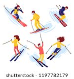 vector skiers cartoon flat... | Shutterstock .eps vector #1197782179