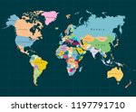 the earth  world map on dark... | Shutterstock .eps vector #1197791710