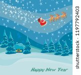 happy new year card with santa... | Shutterstock . vector #1197792403