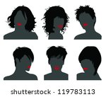 Set Of Silhouettes Of Heads 10...