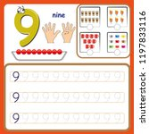 number cards  counting and... | Shutterstock .eps vector #1197833116