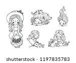 set of cute little girls | Shutterstock .eps vector #1197835783
