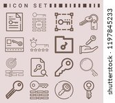 simple set of  16 outline icons ... | Shutterstock .eps vector #1197845233