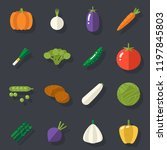 food icons set vegetables... | Shutterstock . vector #1197845803