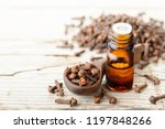 clove essential oil in the... | Shutterstock . vector #1197848266