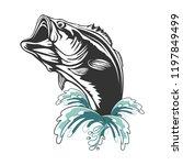 fishing bass logo. bass fish... | Shutterstock .eps vector #1197849499