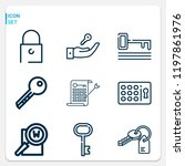 simple set of  9 outline icons... | Shutterstock .eps vector #1197861976