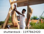 black butcher hang pork... | Shutterstock . vector #1197862420