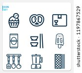 simple set of  9 outline icons... | Shutterstock .eps vector #1197867529