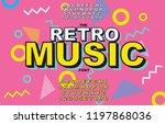 80's retro alphabet font.... | Shutterstock .eps vector #1197868036