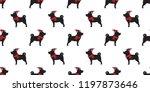 dog seamless pattern christmas... | Shutterstock .eps vector #1197873646