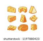 cheese icon set. vector... | Shutterstock .eps vector #1197880423