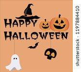 vector happy halloween text...   Shutterstock .eps vector #1197884410