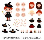 adorable little witch... | Shutterstock .eps vector #1197886360
