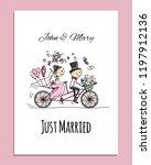 wedding card design. bride and... | Shutterstock .eps vector #1197912136