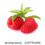 Raspberry with peppermint - stock photo