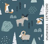 Stock vector hand drawn seamless pattern with fox goat elk and rabbit in forest scandinavian christmas design 1197922540