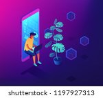 programmer sitting in mobile...   Shutterstock .eps vector #1197927313