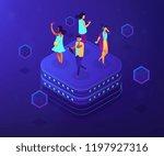bloggers using mobile phones...   Shutterstock .eps vector #1197927316