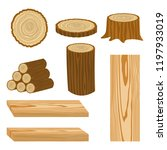 set of wood logs for forestry... | Shutterstock .eps vector #1197933019
