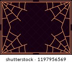 halloween frame with cobwebs.... | Shutterstock .eps vector #1197956569