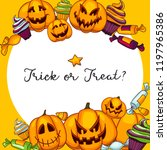 halloween pumpkins border frame ... | Shutterstock .eps vector #1197965386